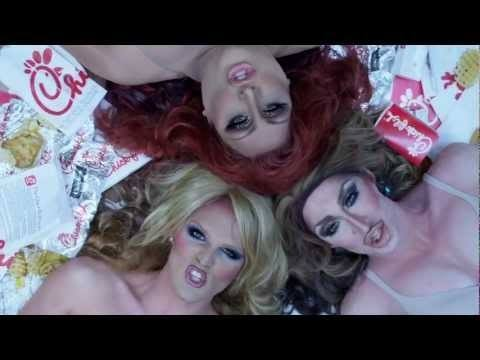 Video thumbnail for youtube video Drag Queens Chow Down On Chick-Fil-A