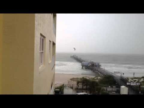 Video thumbnail for youtube video Kite Surfer Flies Over A Pier
