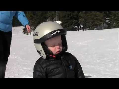 Kid Falls Asleep Standing On Skis