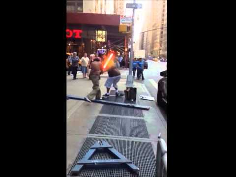 Crutch Fighting In Times Square