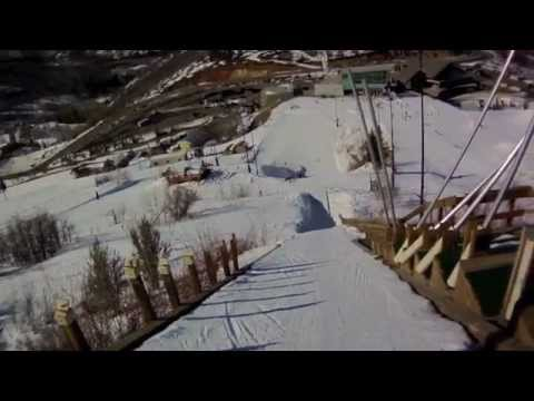 Fourth Grade Girl's First Ski Jump