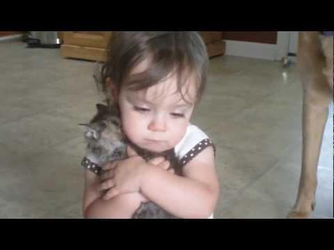 Little Girl Loves Her Kitty