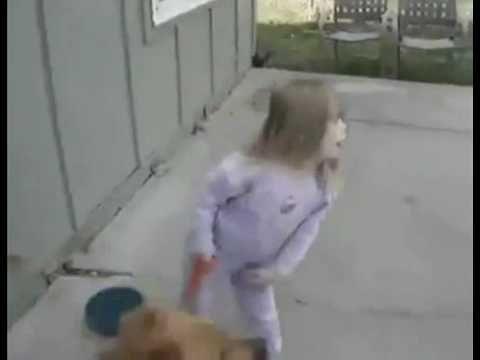 Little Girl Eats Dirt After Dog Sprints Off