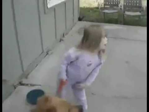 Video thumbnail for youtube video Little Girl Eats Dirt After Dog Sprints Off