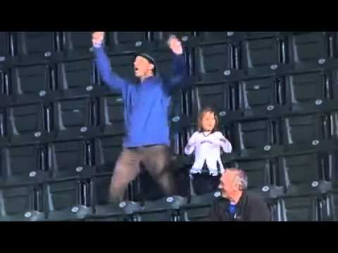 Dad Dances With Kids At Baseball Game