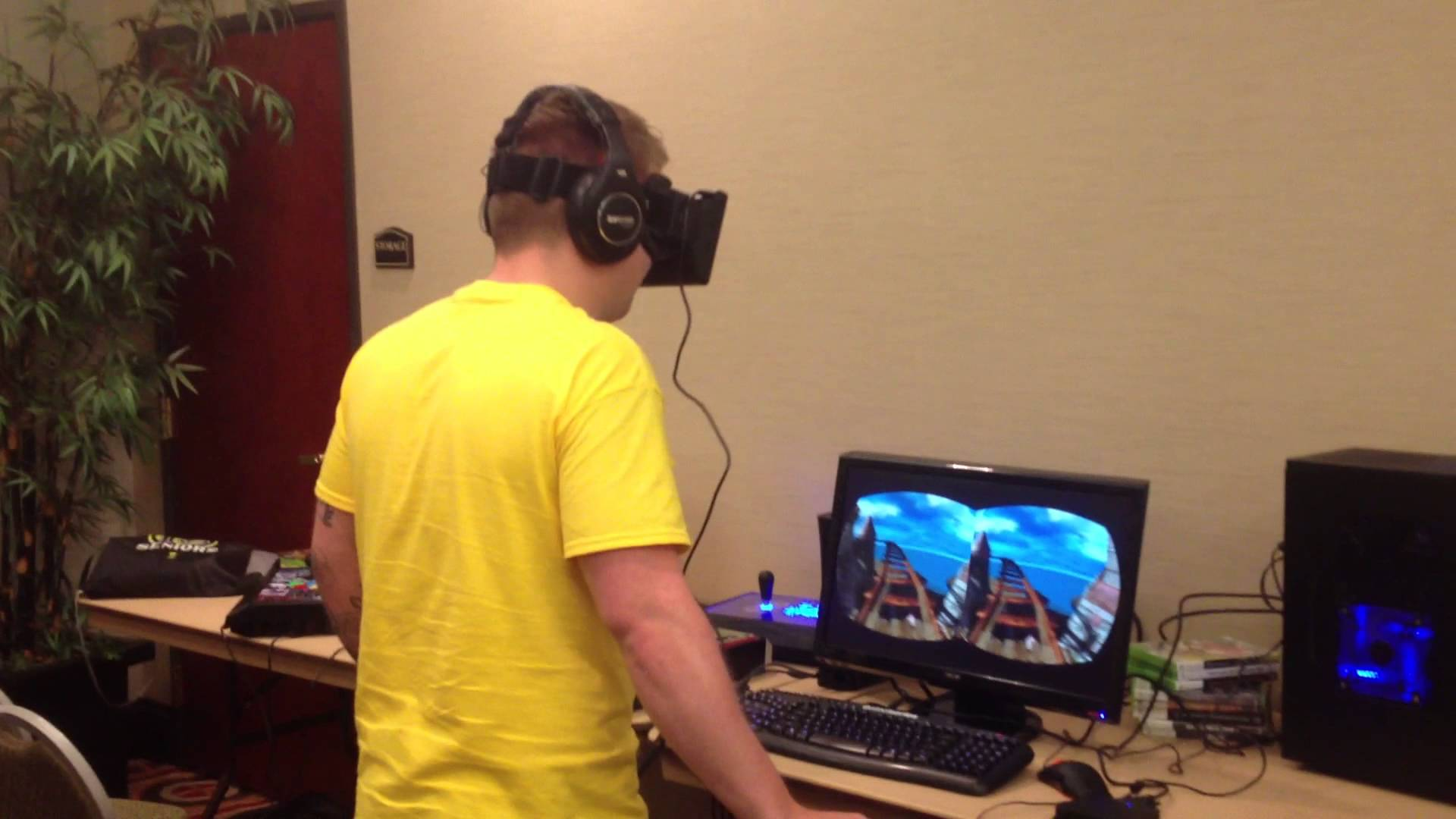 Guy Scared Of Roller Coasters Tries Virtual Reality