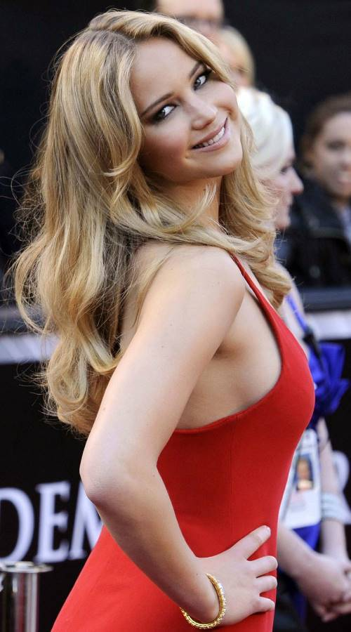 Jennifer Lawrence Tight Red Dress