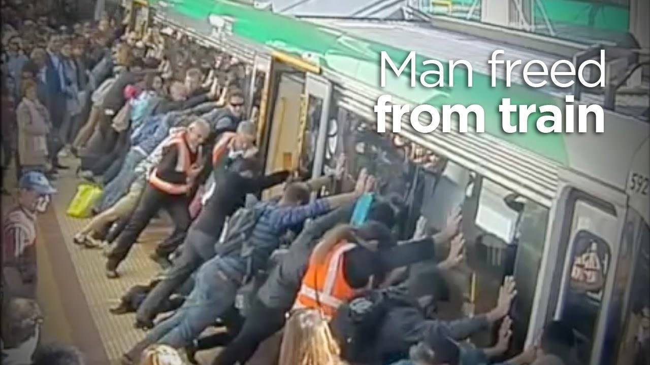 People Power Frees Man Trapped By Train