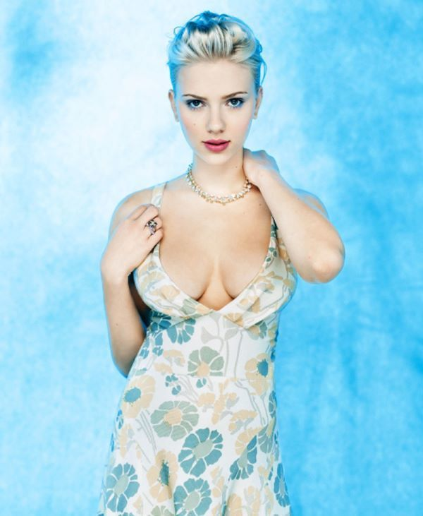 Scarlett Johansson In A Blue Dress