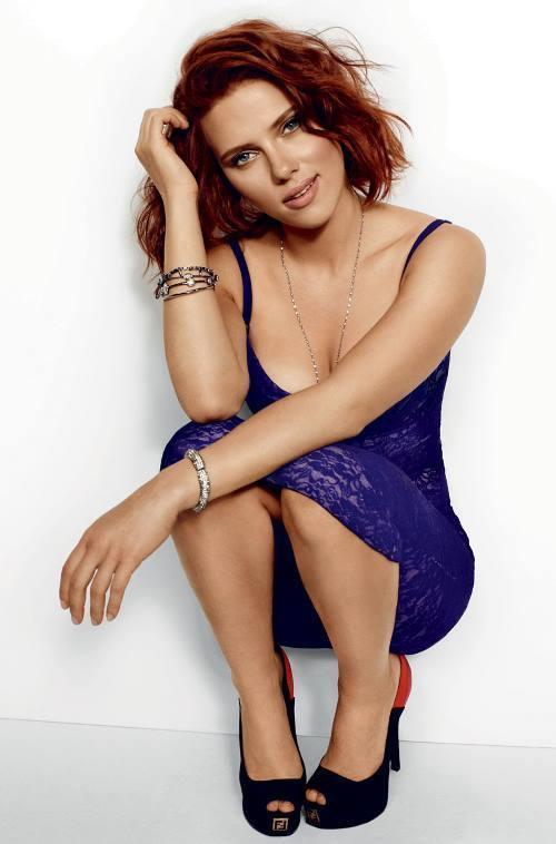 Scarlett Johansson Photos Purple Dress