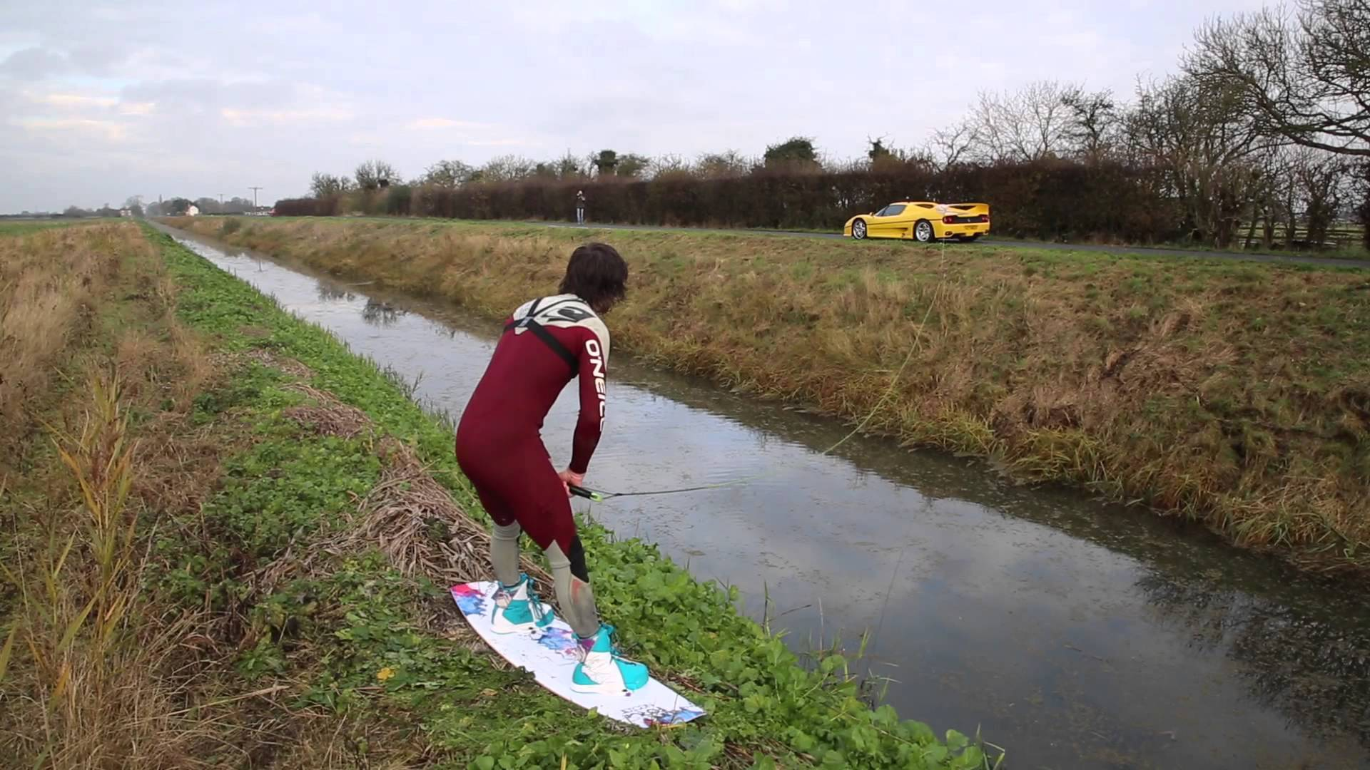 Bro Uses Ferrari F50 To Help Him Wakeboard