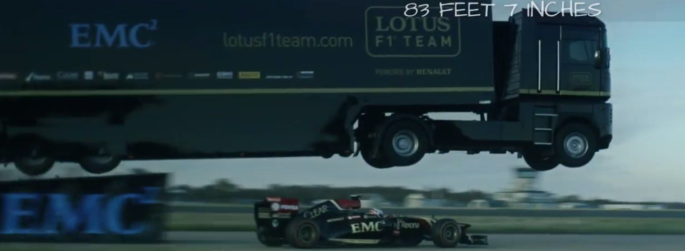 Video thumbnail for youtube video Lotus F1 Team Jumps Over A F1 Car With A Semi Truck