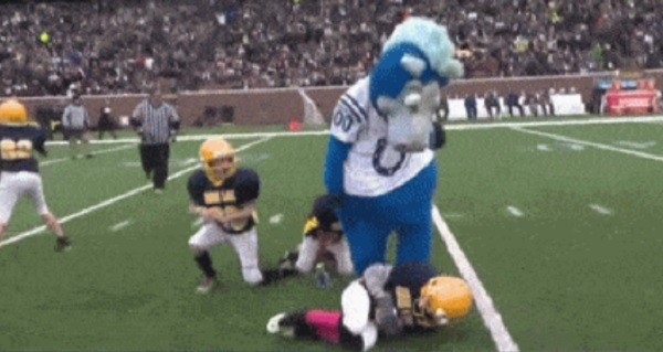 Mascots Play Against Pee Wee Kids